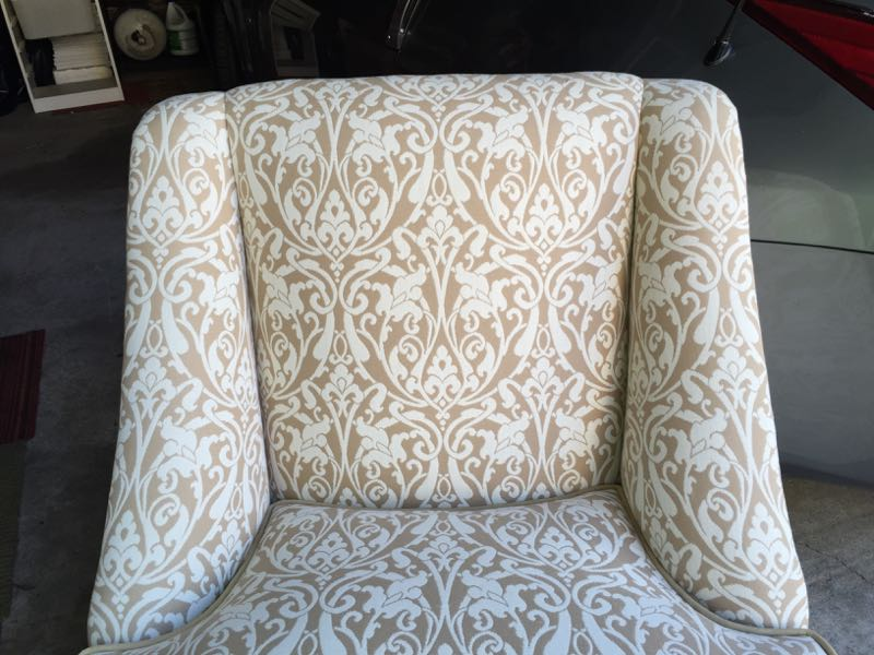 reupholstered chair detail